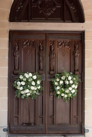 Fresh Greenery and White Rose Wreaths