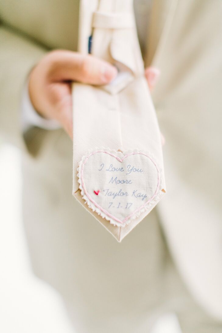 Sentimental Bride's Note Sewn Into Groom's Tie