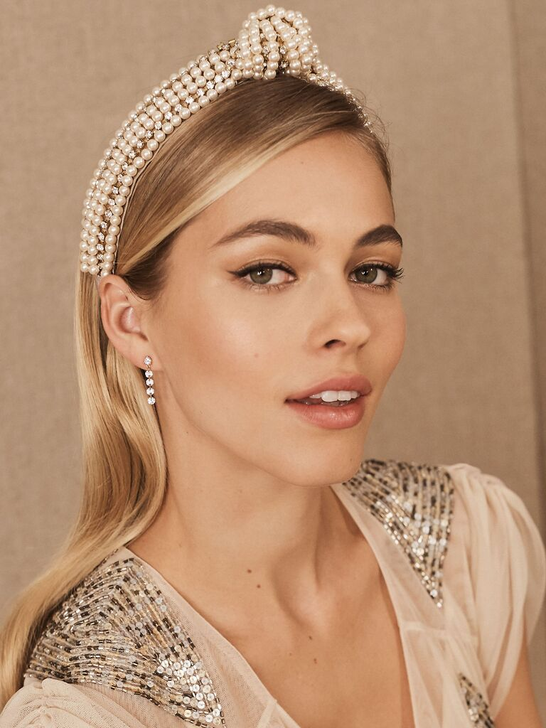 Pearl and crystal knotted headband