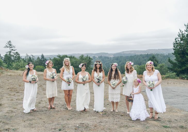Jayme let all her bridesmaids pick out their dresses in any shade of white. The girls ended up purchasing a variety of long and short gowns in different styles from either Free People or vintage shops, going along with the bohemian look.
