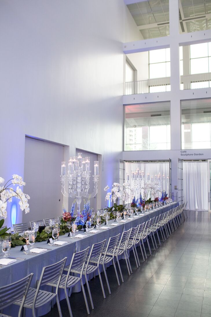 """I'm a big-picture guy and can't be bothered with details, which I admit are important in a wedding,"" Justin says. ""Our friend happens to run an event company, and was the natural choice to make sure everything was perfect."" The couple told their friend they like ""modern elegance"" and the colors blue, silver and white. ""The rest was up to him,"" Justin says."
