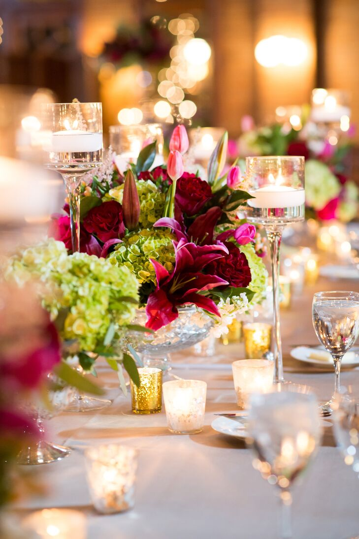 Bright centerpieces were paired with warm candlelight for an ultraromantic evening ambiance.