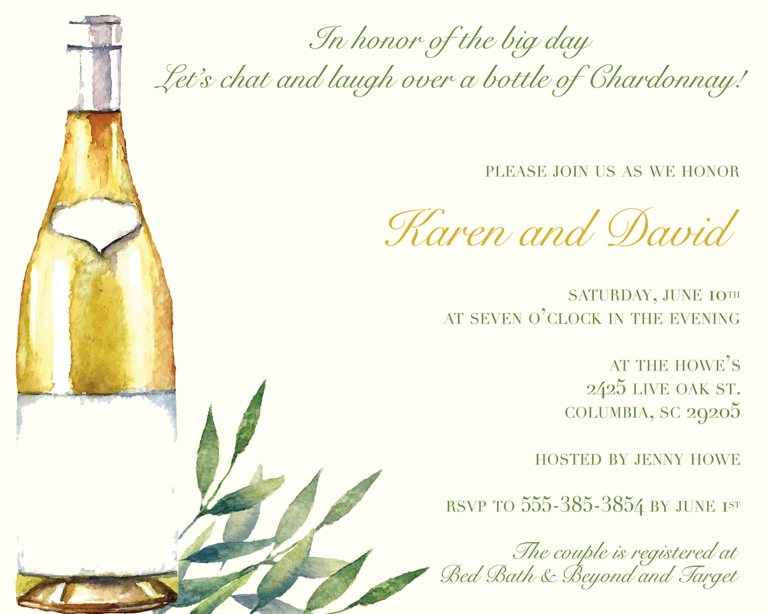 wine themed bridal shower invitation wording