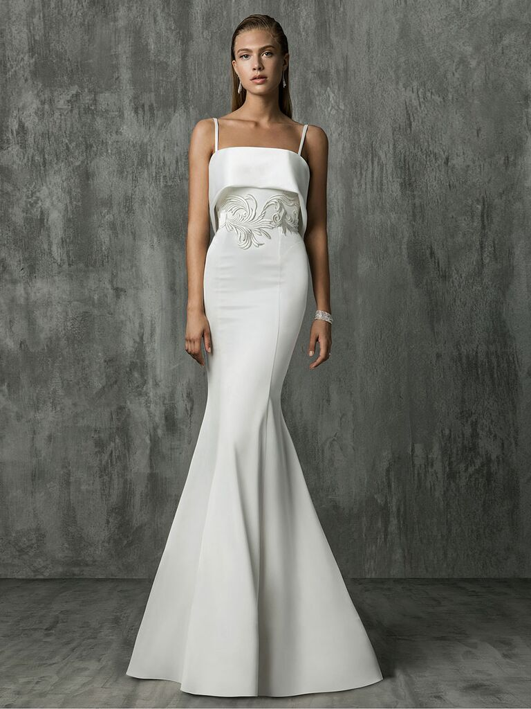 Victoria Kyriakides Fall 2018 wedding dresses with spaghetti straps and a layered bodice