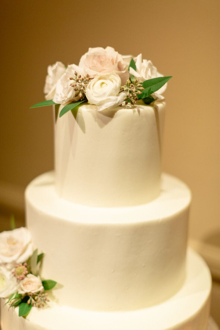 White Cake with Fondant and Flowers
