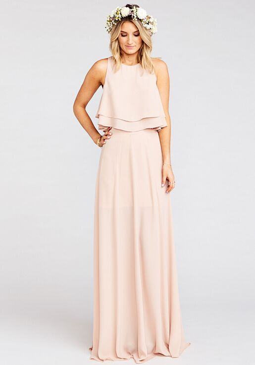 66ed1505ae0f7 Show Me Your Mumu King Crop Top - Dusty Blush Crisp Halter Bridesmaid Dress