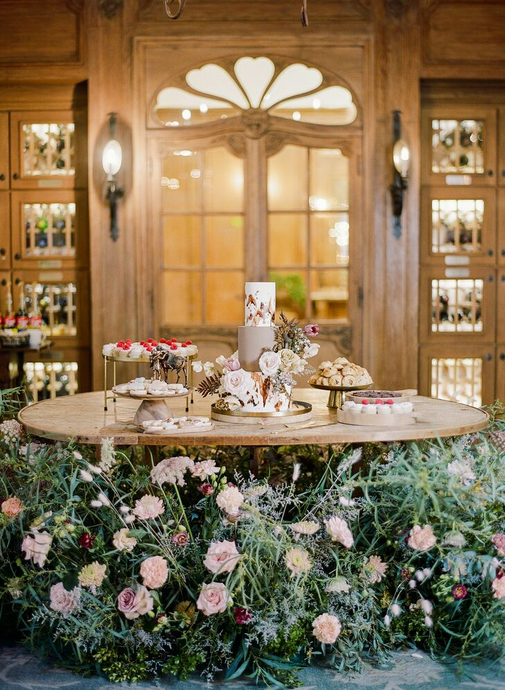 Cake Table for Rustic Reception at Vista Valley Country Club in California