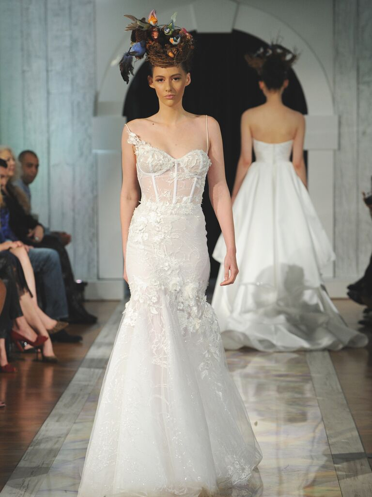 Dany Mizrachi Fall 2019 corset lace spaghetti strap wedding dress