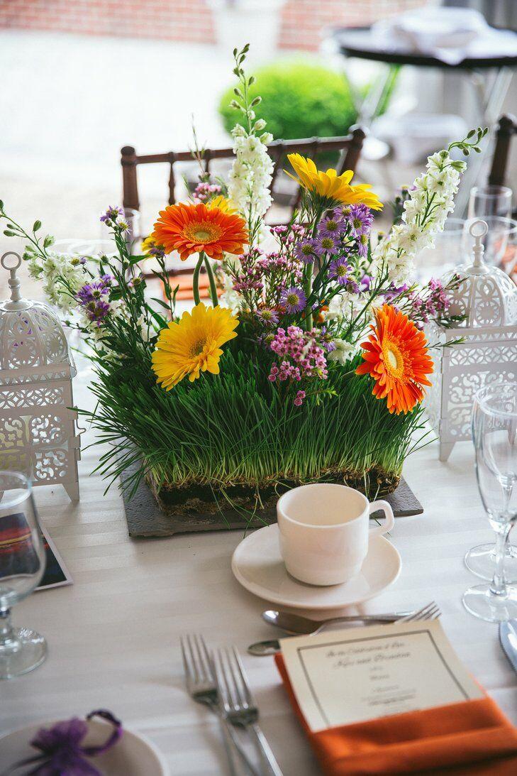 Gerbera daisy an grass centerpiece
