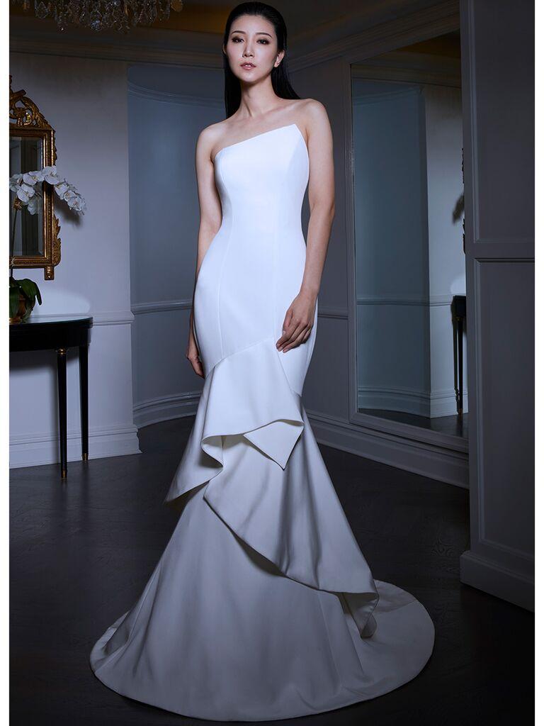 Romona Keveza wedding dress with tiered skirt