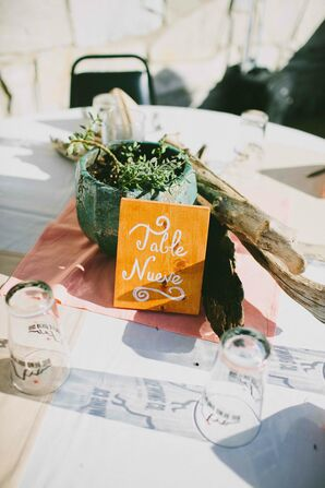 DIY Painted Wooden Table Number With Succulent Centerpiece