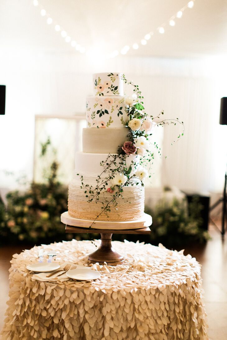 Hand-Painted Floral Wedding Cake with Vines