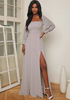 Lulus Feel the Romance Grey Off-the-Shoulder Maxi Dress Off the Shoulder Bridesmaid Dress