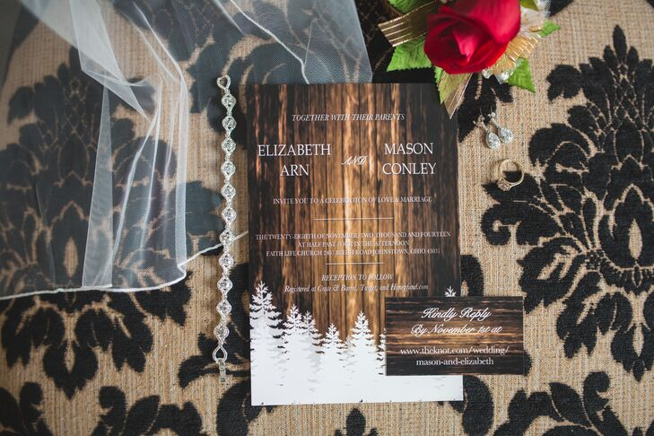 Rustic Winter-Inspired Wedding Invitation