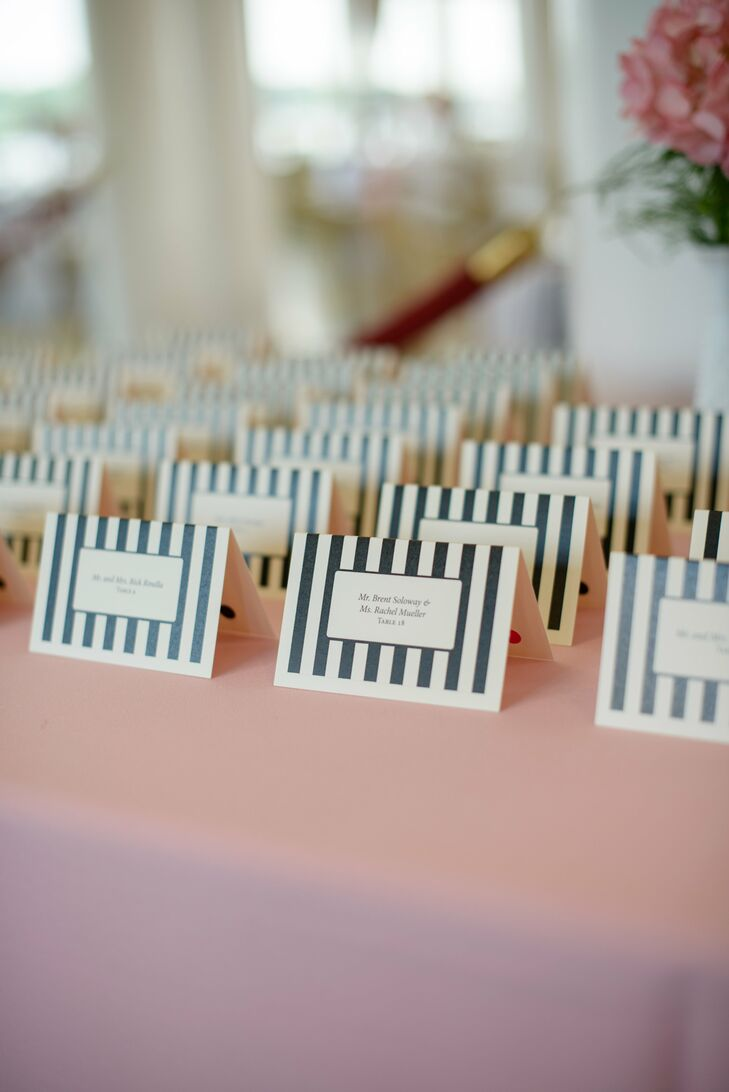 Preppy Black-and-White-Striped Escort Cards