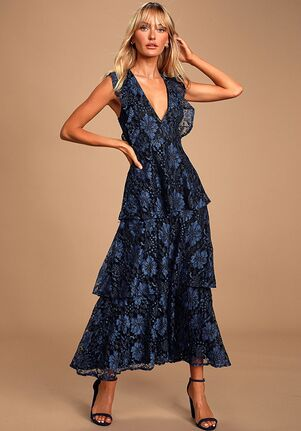 Lulus Molinetto Navy Blue Lace Ruffled Tiered Sleeveless Maxi Dress V-Neck Bridesmaid Dress