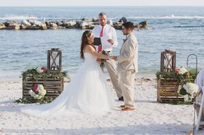 Bride and Groom Exchange Vows on the Beach