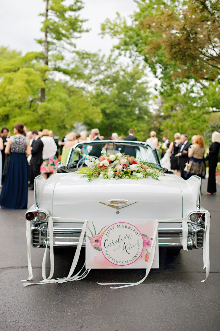 Traditional Exit in Classic White Cadillac