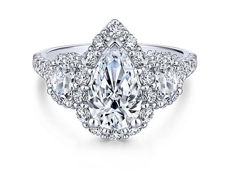 Gabriel & Co. three-stone pear-shaped diamond engagement ring