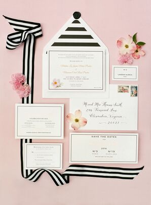 Graphic Black-and-White Invitations with Stripe Envelope Liner