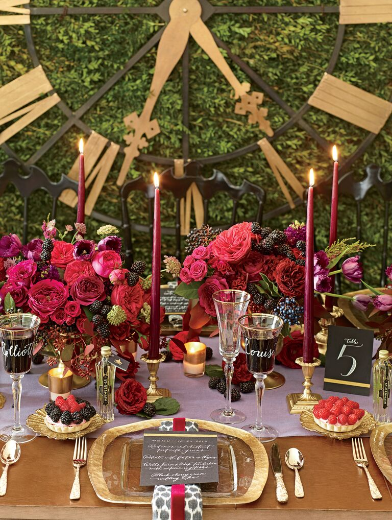 Gold and jewel toned reception table decor