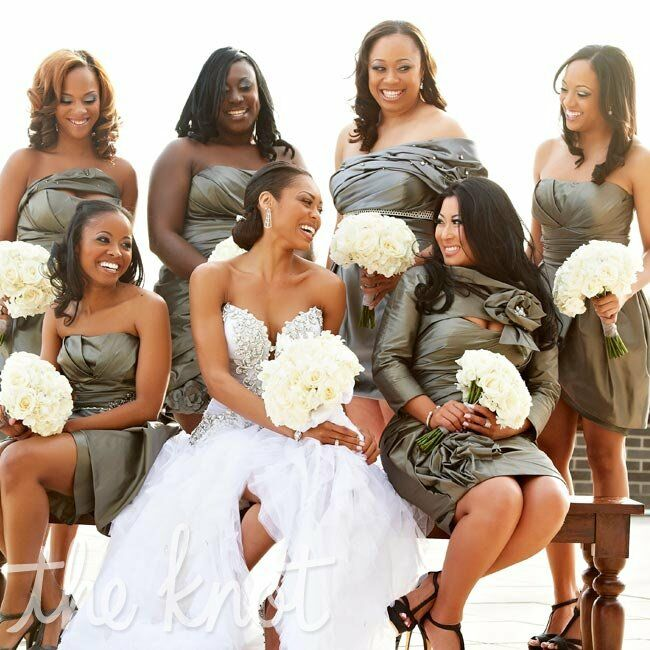 For a little variety, Monique's bridesmaids wore different silhouettes of the same metallic fabric.
