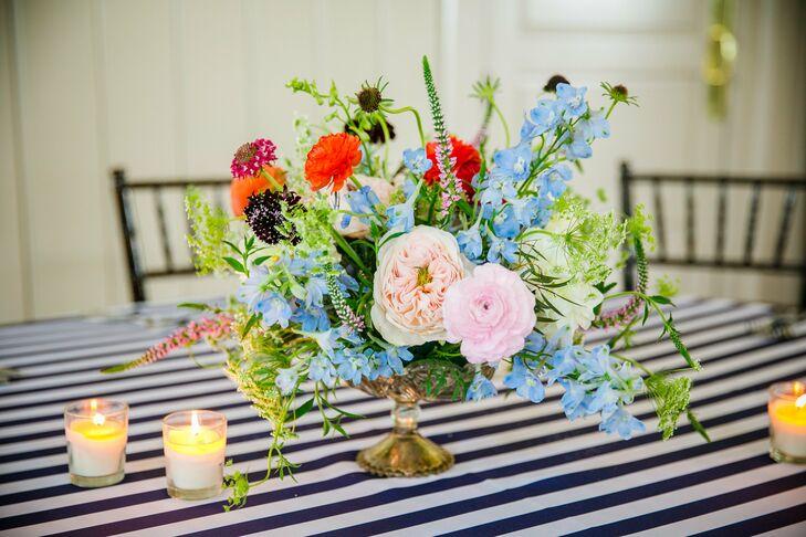Blush Ranunculus, Blue Delphinium Wedding Centerpieces