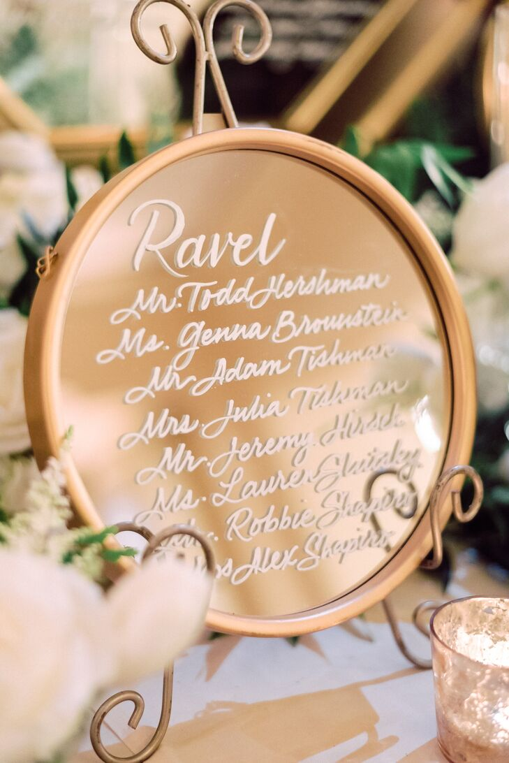 Mirrored Seating Chart Display with Calligraphy
