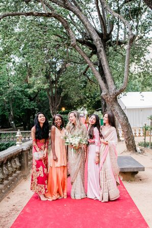 Elegant Hindu Bride and Bridesmaids Wearing Colorful Dresses