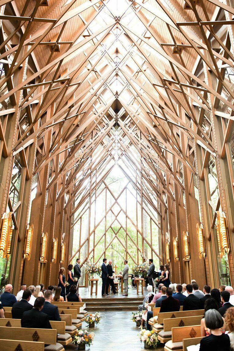 Wedding ceremony in wood chapel