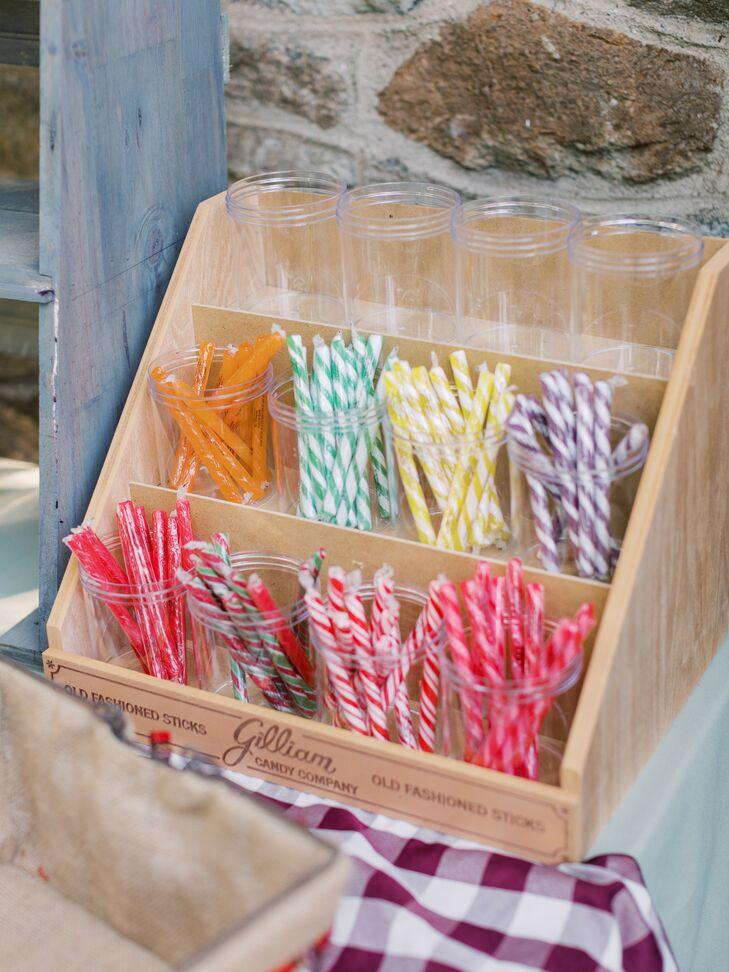 Candy Stick Favors at Pennsylvania Wedding