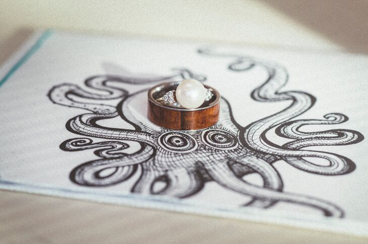 Pearl and Wood Wedding Rings