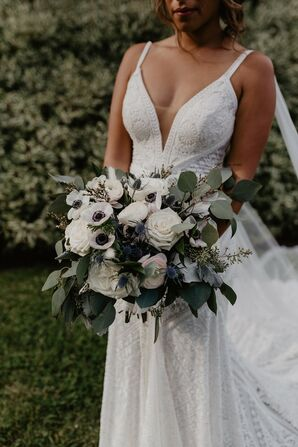 Bohemian Bouquet with Anemones, Roses, Thistles and Eucalyptus