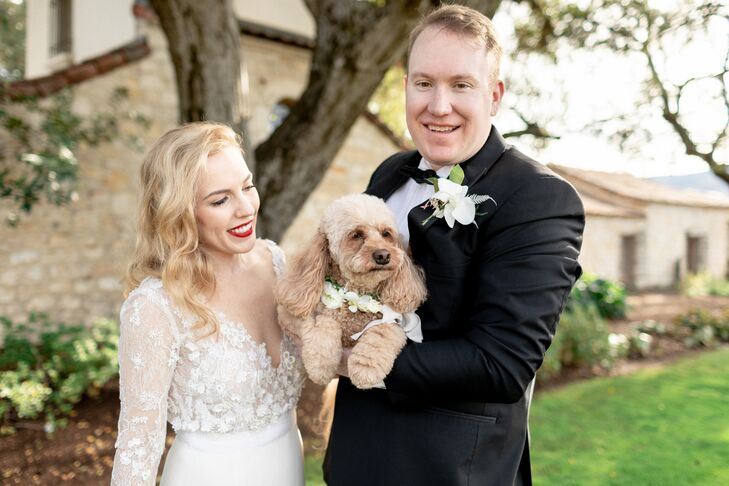 Bride with Down Hairstyle, Lace Dress, Red Lips and Dog