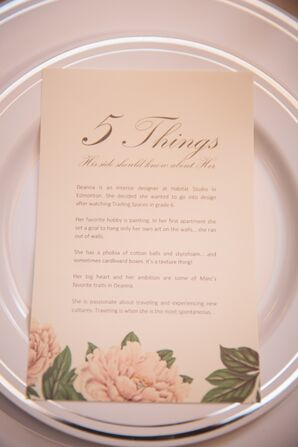 5 Things Place Setting Card