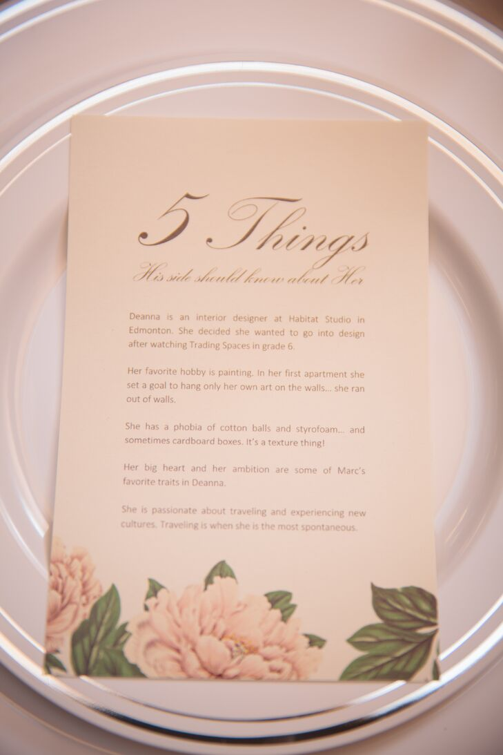The family tables had a small card that had five fact about the couple so that the opposite family could get to know Deanna and Marc better.