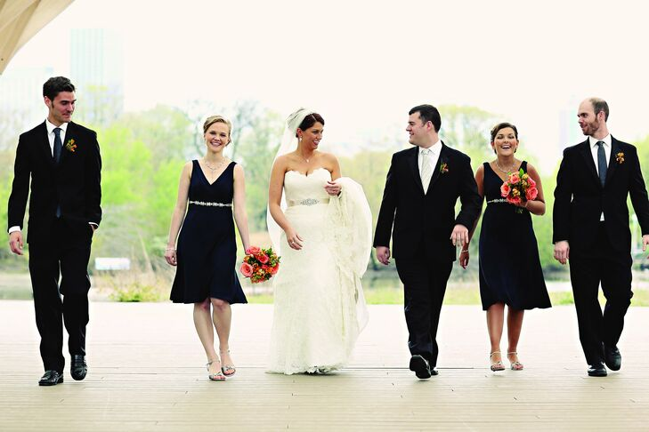 The two bridesmaids wore simple navy silk dresses with jeweled sashes, while the guys donned black tuxes.