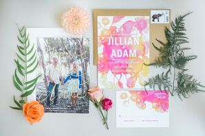 Pink and Coral Watercolor Invitation Suite