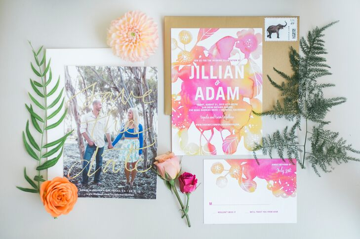 "Jillian and Adam's watercolor-style invitations matched the vibrant hues used in the day's floral arrangements. In a personal touch, the couple replaced the traditional ""dinner and-dancing"" reception description with ""tacos and tequila."""