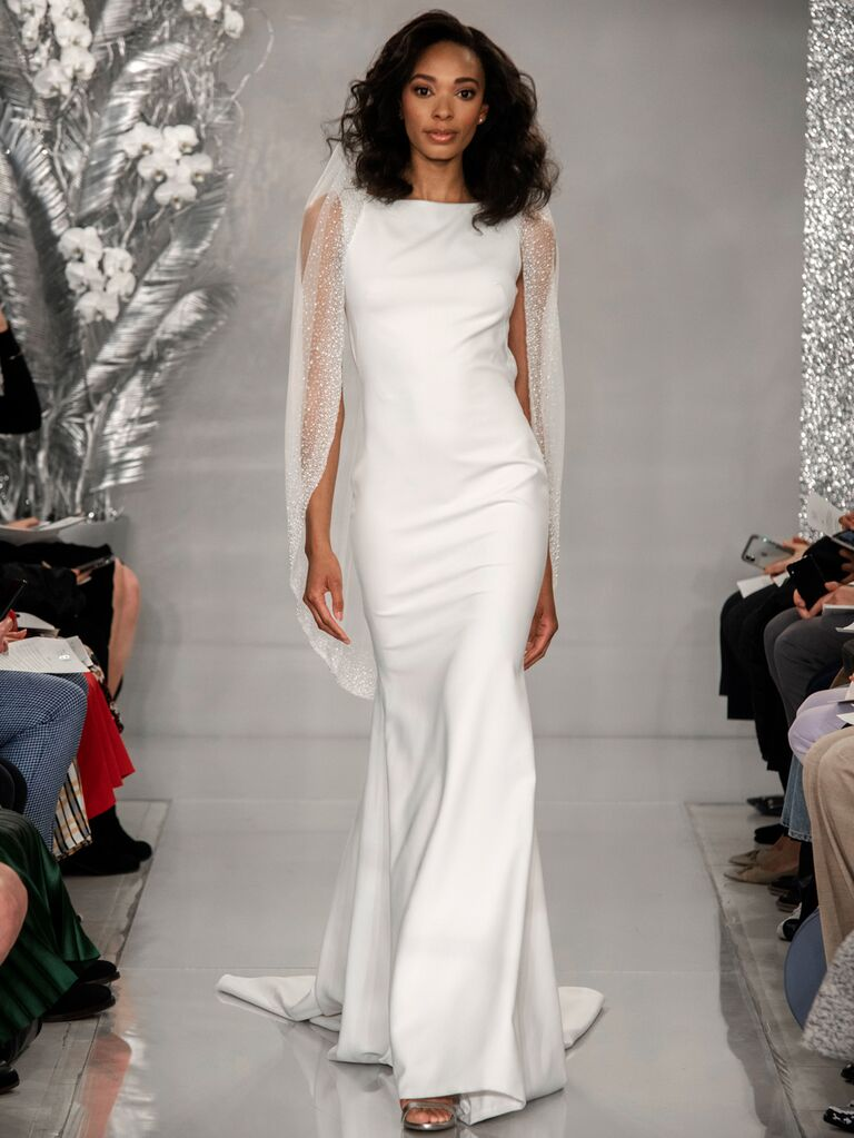 Theia Spring 2020 Bridal Collection sheath dress with embellished cape