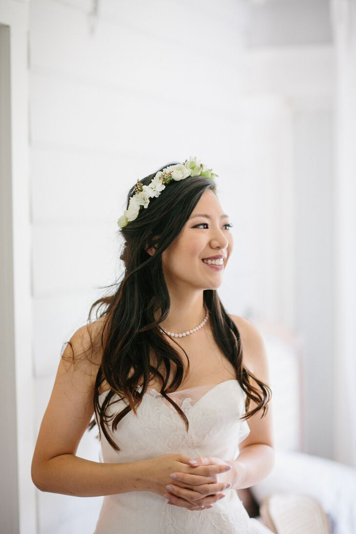 Bride with a White Floral Flower Crown and Half-Up Hairstyle