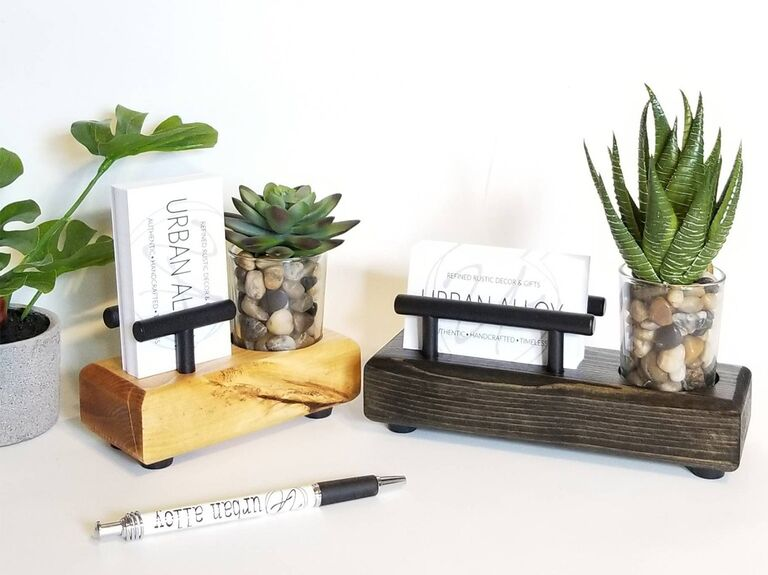 desk organizer with succulent 7th anniversary gift