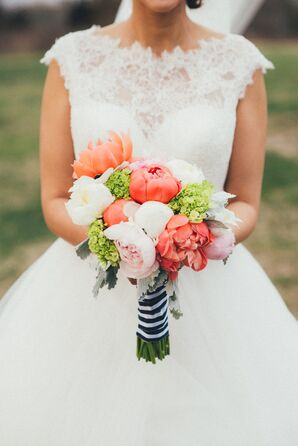 Bright Coral Peony Bridal Bouquet