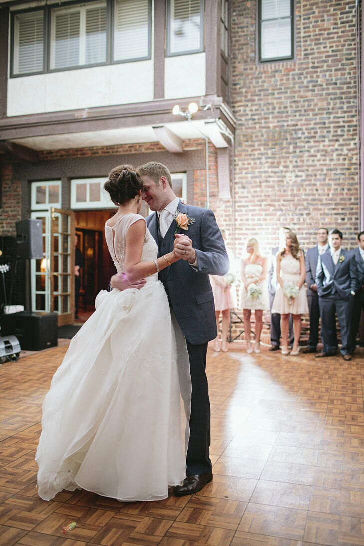 The couple chose a very nontraditional song for their first dance: Hey HO from the Lumineers. I still listen to it all the time and have it as my ringtone for John now, says Amy.