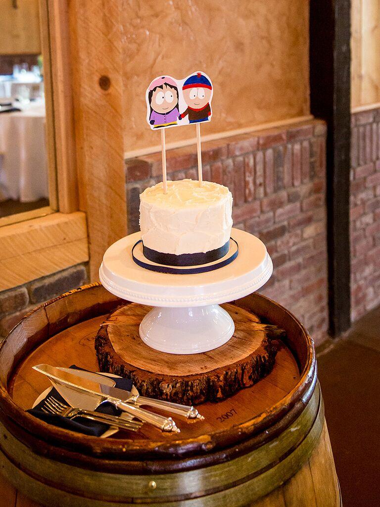 DIY cut-out wedding cake topper idea