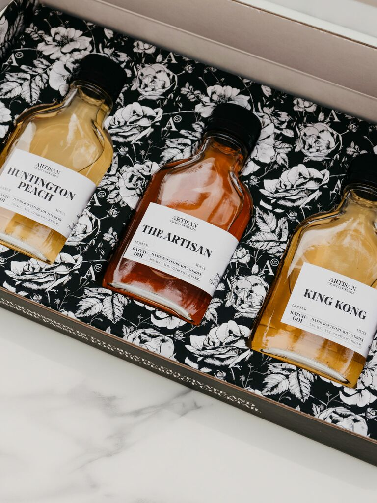 dessert cocktail gift set with floral packaging