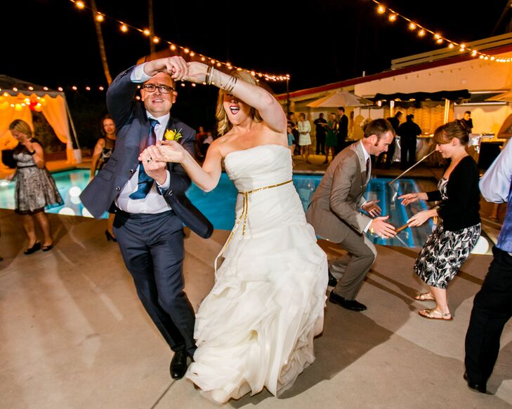 The bride and groom had a swing band  called the Gypsy Swing Cats play for the ceremony and cocktail hour.  During the reception the bride and groom had a DJ who played mid-century and California themed music.