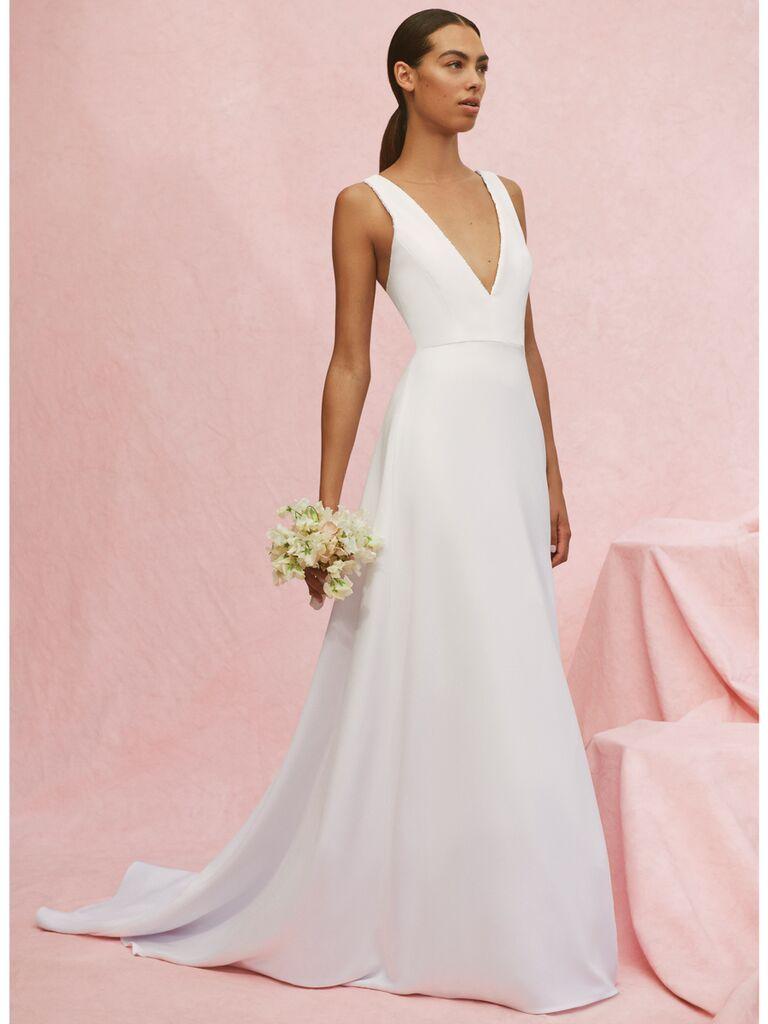 Carolina Herrera Mia V-neck A-line wedding dress