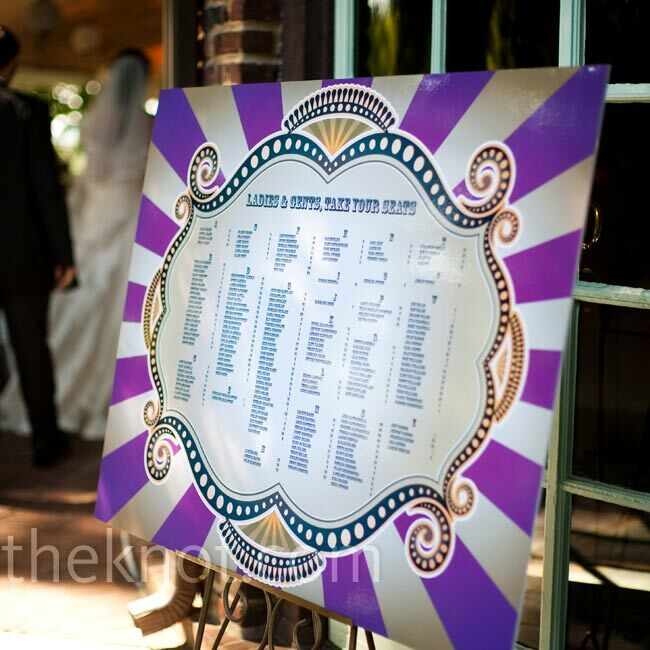 A large circus-inspired poster, which matched the rest of the wedding day stationery, directed guests to their seats.