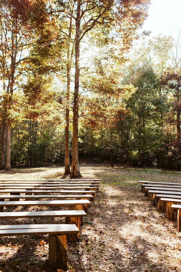 Fall Backyard Wedding Ceremony with Wood Benches